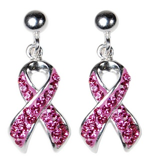 How much of these $50 crystal earrings goes to breast cancer causes? Zero.